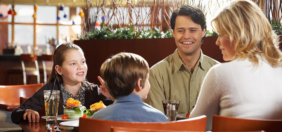 Family sitting at restaurant table